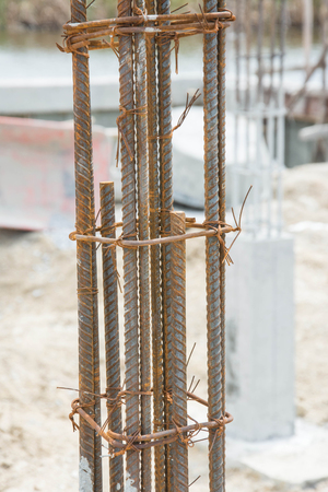 reinforcement: metal foundation post in construction site