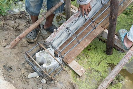 bundling: Steel tie of ground beam waiting for concrete work