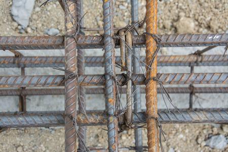 corbel: Steel tie of ground beam waiting for concrete work