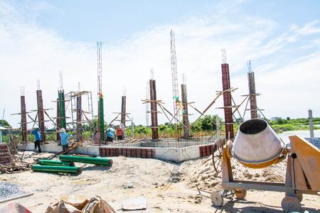 bundling: worker  at  construction site,Thailand Stock Photo