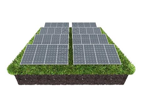 Solar panels farm, 3d rendering Stock Photo