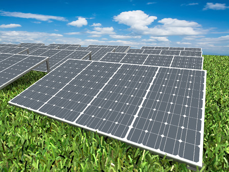 silicium: Solar panels on grass with blue sky,3d rendering Stock Photo