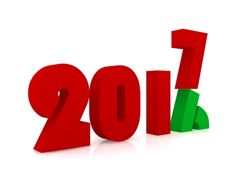 turns of the year: New year 2017 ,3d rendering Stock Photo