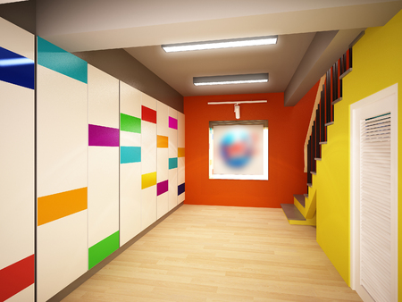 stair: 3d rendering of interior stair hall Stock Photo