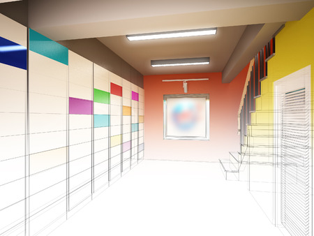 stair: sketch design of interior stair hall ,3d rendering Stock Photo