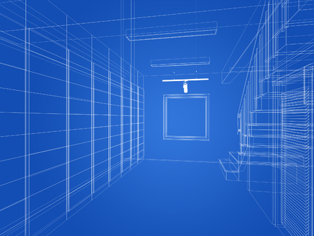 engineering design: sketch design of interior stair hall ,3d rendering Stock Photo