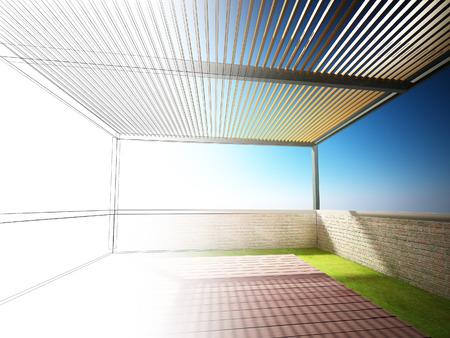 on the balcony: abstract sketch design of balcony Stock Photo