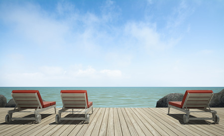 daybed: daybed  on  wooden terrace at sea view, 3D rendering image