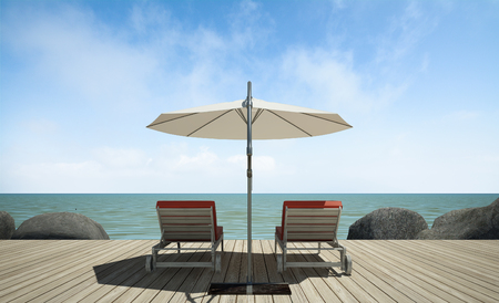 daybed: daybed with umbrella on  wooden terrace at sea view, 3D rendering image