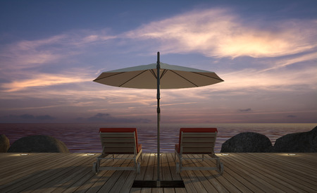 daybed: daybed with umbrella on  wooden terrace at twilight sea view, 3D rendering image Stock Photo