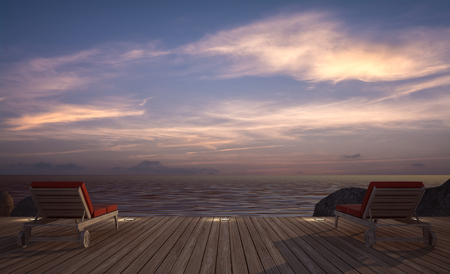 daybed: daybed on  wooden terrace at twilight sea view ,3D rendering image