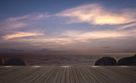 daybed: daybed with umbrella on  wooden terrace at twilight sea view, ,3D rendering image