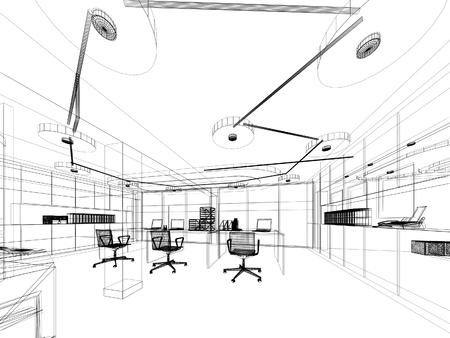 インテリア オフィス、ワイヤー フレームのデザインをスケッチします。