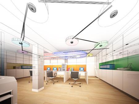 wire frame: sketch design of interior office, wire frame
