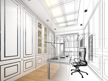 architectural studies: sketch design of working room ,3dwire frame render