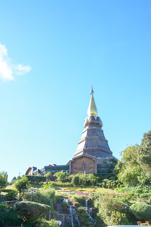 phon: pagoda on the moutain (Noppa methanidon-nop pha phon phum siri stupa),Doi Inthanon National Park, Thailand.