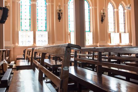 seating: seating in church , Chantaburi, Thailand Editorial