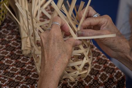 basket weaving: Weaving a wicker basket by handmade,Thailand