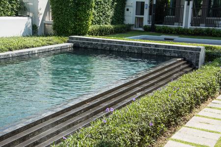inground: Residential swimming pool in backyard