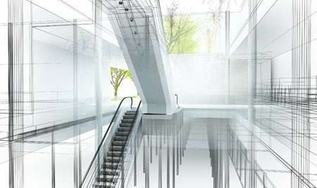 comfortable: sketch design of interior hall, 3d rendering Stock Photo