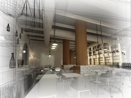 sketch design of   interior restaurant, 3d rendering Banque d'images