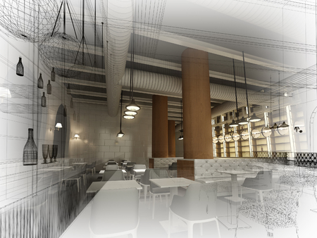 sketch design of   interior restaurant, 3d rendering Imagens