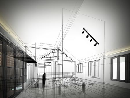 wire: sketch design of interior space ,3d  render Stock Photo