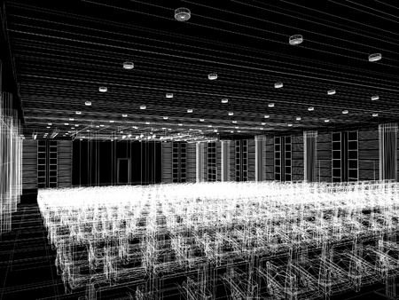 convention: sketch design of interior auditorium  ,3d  render
