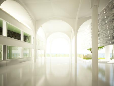 Schizzo di sala interna, rendering 3d