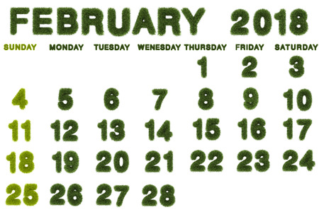 Calendar for February 2018 on white background,3d rendering green grass Archivio Fotografico