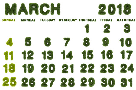 Calendar for March 2018 on white background,3d rendering green grass
