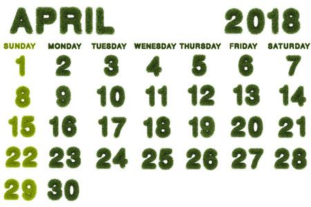 Calendar for 2018 on white background,3d rendering green grass