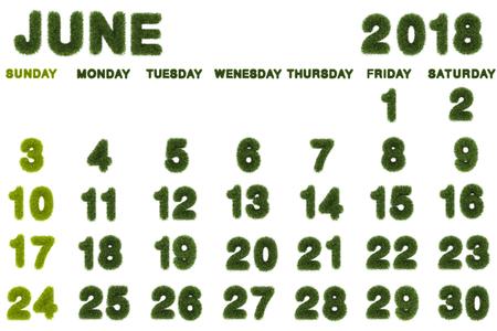 Calendar for June 2018 on white background,3d rendering green grass
