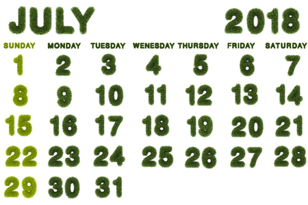 Calendar for July 2018 on white background,3d rendering green grass Archivio Fotografico
