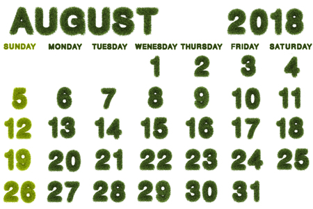 Calendar for August 2018 on white background,3d rendering green grass
