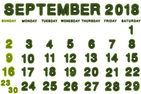 Calendar for September 2018 on white background,3d rendering green grass