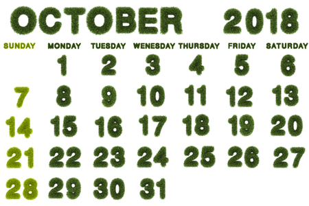 Calendar for October 2018 on white background,3d rendering green grass Archivio Fotografico