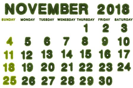 Calendar for November 2018 on white background,3d rendering green grass