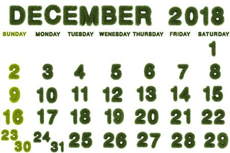 Calendar for December 2018 on white background,3d rendering green grass Archivio Fotografico