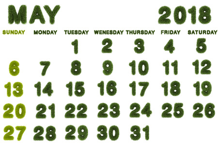Calendar for May 2018 on white background,3d rendering green grass