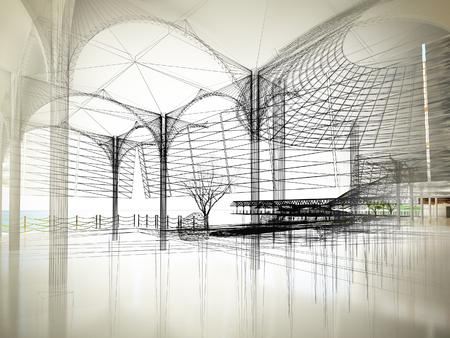 sketch design of interior hall, 3d rendering Archivio Fotografico