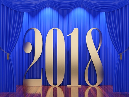 New year 2018,3d rendering of 2018 on stage