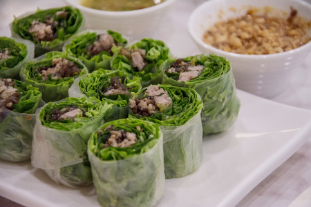 vietnamese spring roll with vegetable and pork
