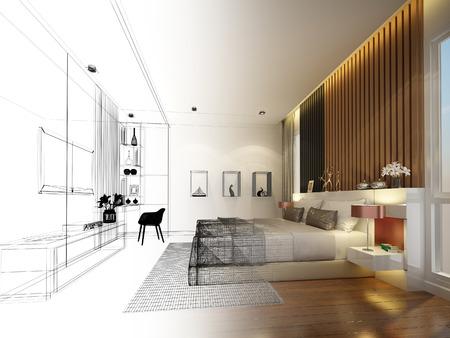 インテリア ベッド ルーム、3 d レンダリングの抽象的なスケッチ デザイン