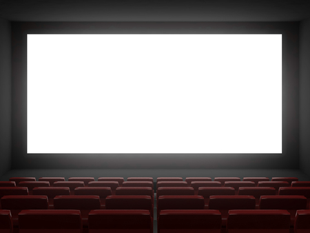 cinema hall white screen.3d rendering Archivio Fotografico