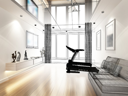 sketch design of living room ,3d rendering Archivio Fotografico