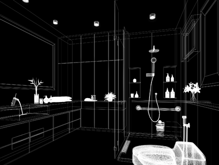 abstract sketch design of interior bathroom ,3d rendering Archivio Fotografico