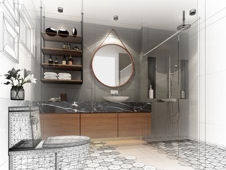 内部のバスルーム、3 d レンダリングの抽象的なスケッチ デザイン 写真素材