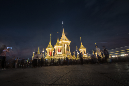 Exhibition on royal cremation ceremony,Sanam Luang Ceremonial Ground,Bangkok,Thailand on November18,2017: Royal Crematorium for the Royal Cremation of His Majesty King Bhumibol Adulyadej