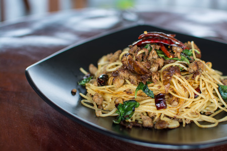 Stir-Fried Spaghetti with Sai Aua (Notrhern Thai Spicy Sausage)